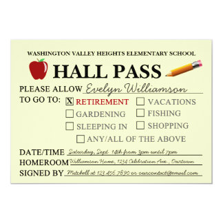 "Retro Hall Pass Teacher Retiring Party Invitation 5"" X 7"" Invitation Card"