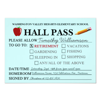 Retro Hall Pass Teacher Retiring Party Invitation