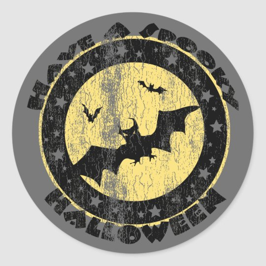 Retro Halloween Bats Classic Round Sticker