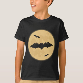 Retro Halloween Bats Kids Black Tee