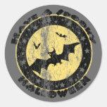Retro Halloween Bats Round Stickers