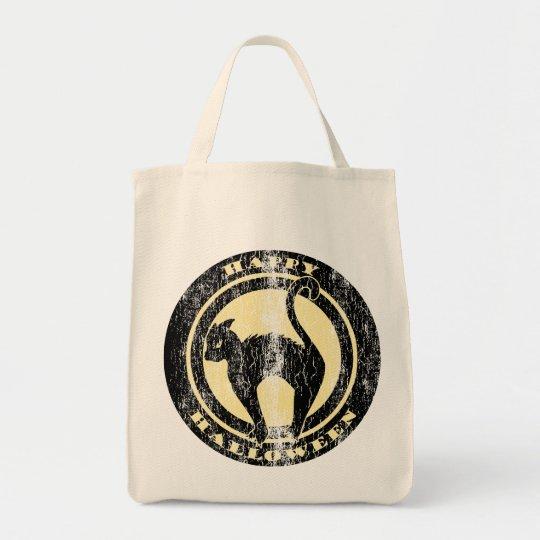 Retro Halloween Black Cat Tote Bag