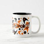 Retro Halloween Boomerang Starburst Two-Tone Coffee Mug