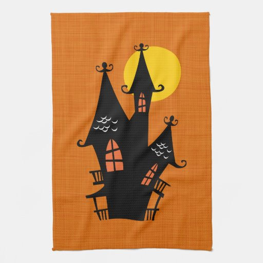Retro Halloween Haunted House Hand Towels