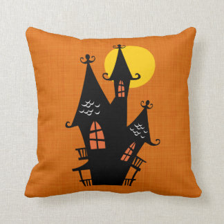 Retro Halloween Haunted House Throw Pillow