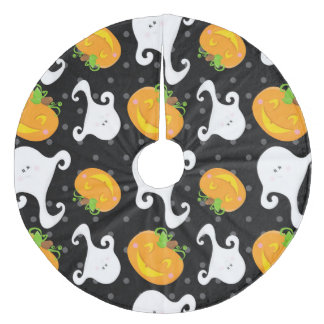 Retro Halloween Party Fleece Tree Skirt