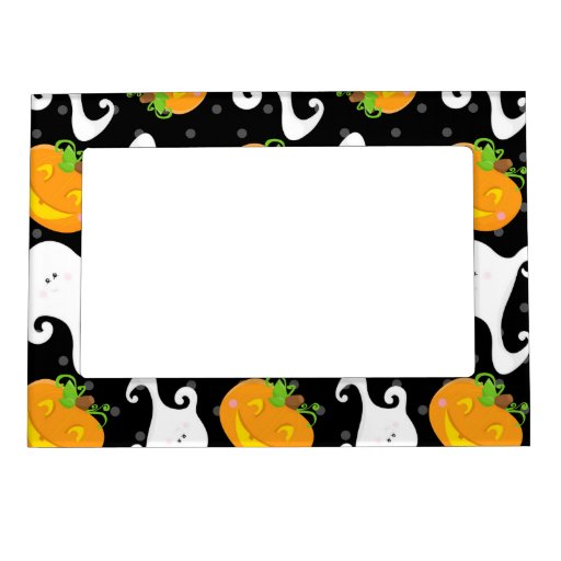 Retro Halloween Party Picture Frame Magnet