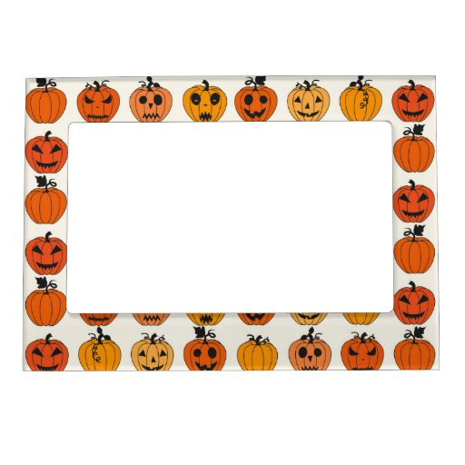 Retro Halloween Party Pumpkins Magnetic Photo Frame