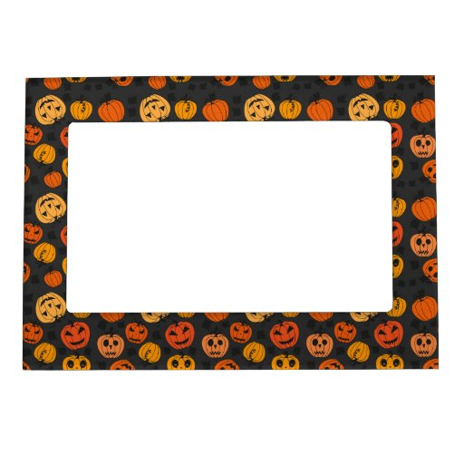 Retro Halloween Party Pumpkins Picture Frame Magnets