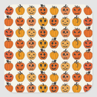 Retro Halloween Party Pumpkins Square Stickers