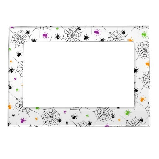 Retro Halloween Party Spider Webs Picture Frame Magnet
