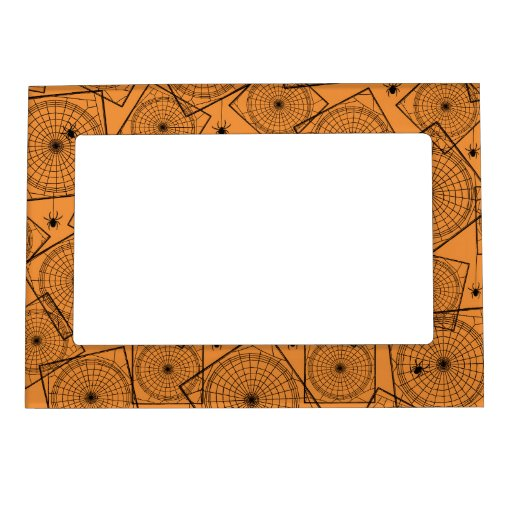 Retro Halloween Party Spiderwebs Magnetic Picture Frame