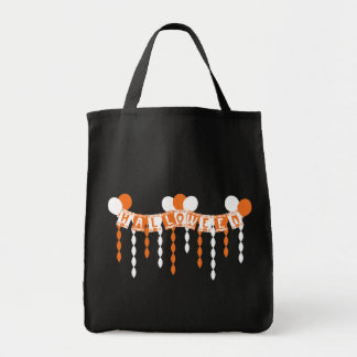 Retro Halloween Party Streamers Grocery Tote Bag