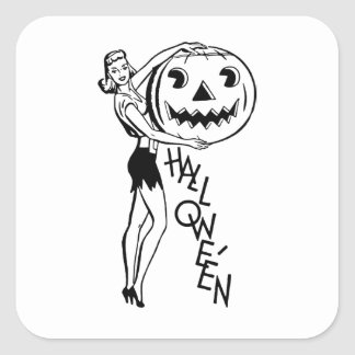 Retro Halloween Pin-up Square Sticker