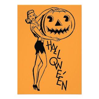 Retro Halloween Pumpkin Lady Custom Invitation