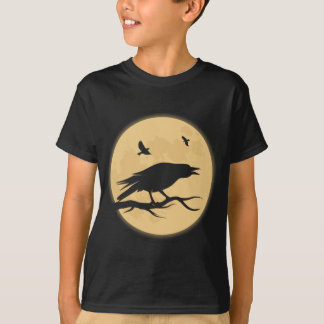 Retro Halloween Raven Kids Black Tee