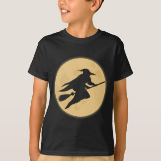 Retro Halloween Witch Kids Black Tee
