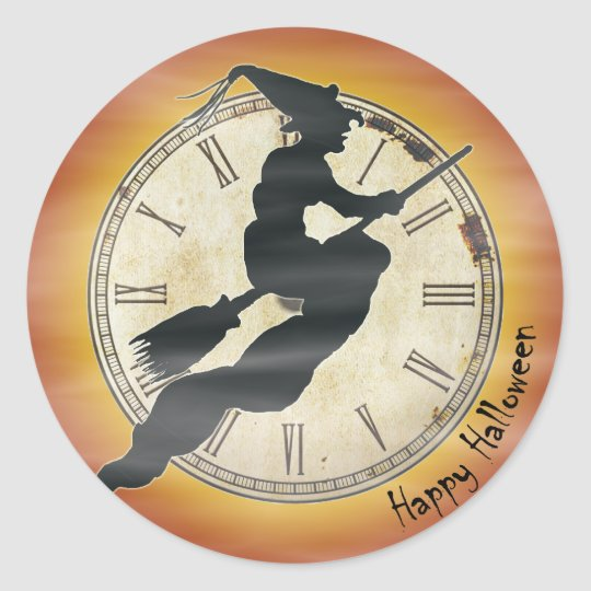 Retro Halloween Witch on a Broom Classic Round Sticker