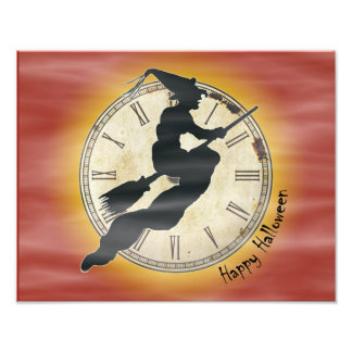 Retro Halloween Witch on a Broom Photo Print