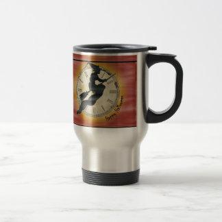 Retro Halloween Witch on a Broom Travel Mug