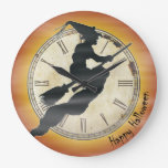 Retro Halloween Witch on a Broom Wall Clock