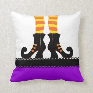 Retro Halloween Witch Throw Pillow