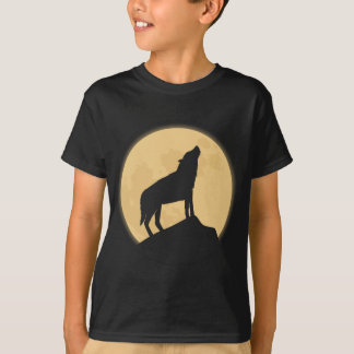 Retro Halloween Wolf Kids Black Tee