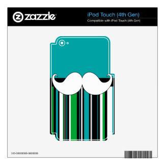 Retro Handlebar Mustache Moustache Stripes iPod Touch 4G Skin