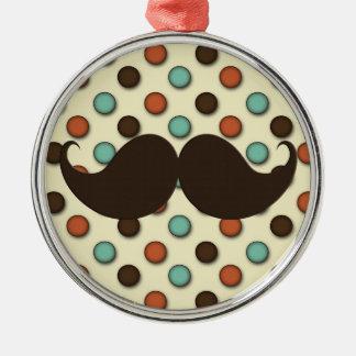 Retro Handlebar Mustache on Funky Pattern Round Metal Christmas Ornament