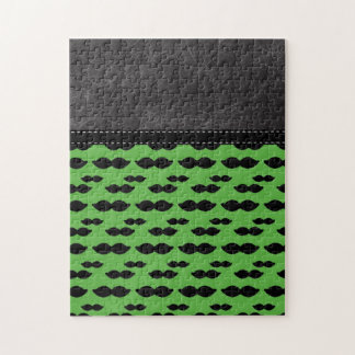 Retro Handlebar Mustache on Green Background Puzzle