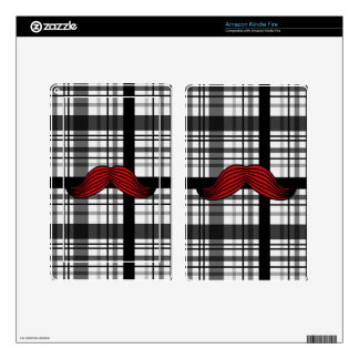 Retro Handlebar Mustache on Plaid Background Kindle Fire Decal