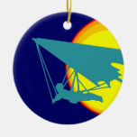 retro hang glider Double-Sided ceramic round christmas ornament