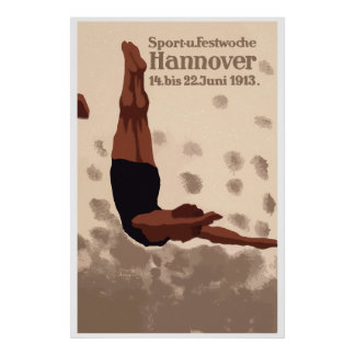 Retro Hannover Germany Sports Diving ad Posters