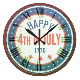 Retro Happy 4th Of July 1776 Round Wall Clock