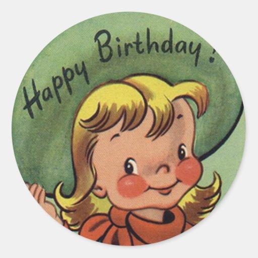 Retro Happy Birthday Cowgirl Fun Stickers