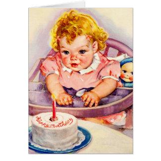 Retro Happy Birthday, Cute Little Baby Girl Card