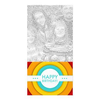 retro happy birthday customized photo card