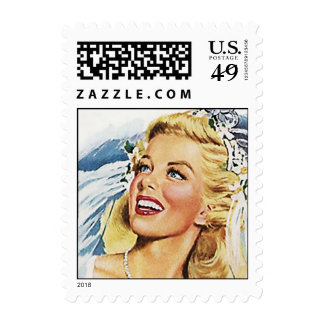 Retro Happy Bride Shower or Thank You Stamps