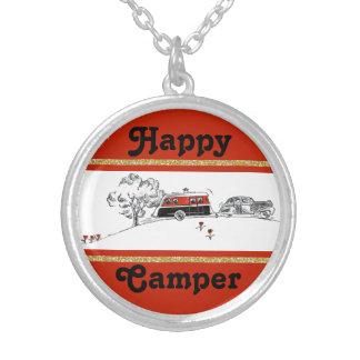 Retro Happy Camper Vintage RV Antique Car Silver Plated Necklace