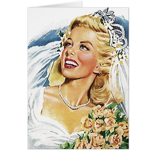 Retro Happy Elated Bride Blank Cards Thank You or.