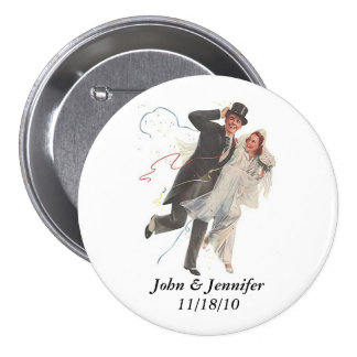 Retro Happy Elated Wedding Couple Gifts Button