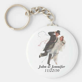 Retro Happy Elated Wedding Couple Gifts Keychain
