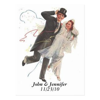 Retro Happy Elated Wedding Couple Gifts Post Card