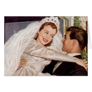 Retro Happy Elated Wedding Couple Thank You Cards