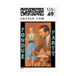 Retro Happy Entertaining Couple Fondue party Stamp