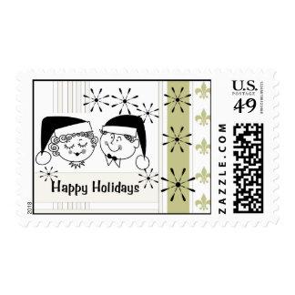 Retro Happy Holidays Postage
