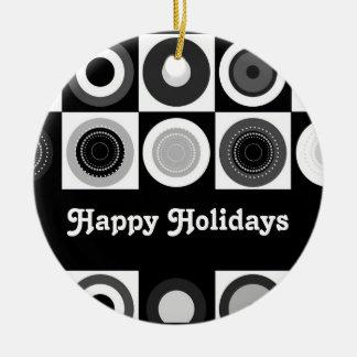 "Retro Happy Holidays ""Tuxedo Design"" Ornament"