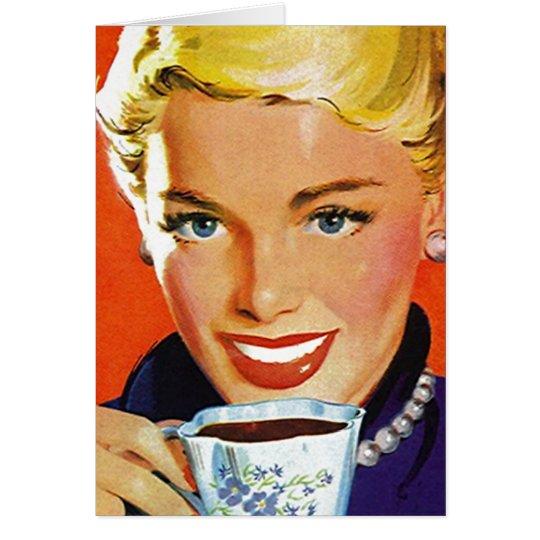 Retro Happy In Suburbia Coffee Tea Blank Cards