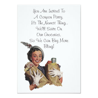 Retro Happy Lady Host Fun Coupon Party Blank 5x7 5x7 Paper Invitation Card