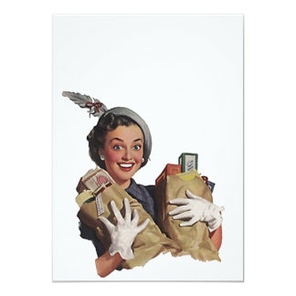 Retro Happy Lady Host Fun Coupon Party Blank 5x7 Card